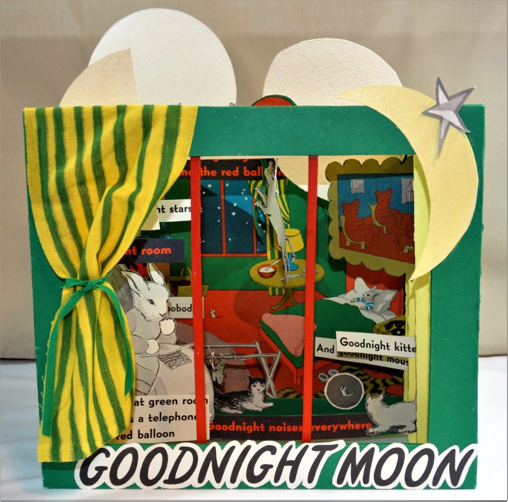 "8"" x 6.75"" x 6""; Tunnel book, ""Goodnight Moon"" by Margaret Wise Brown, mixed media"